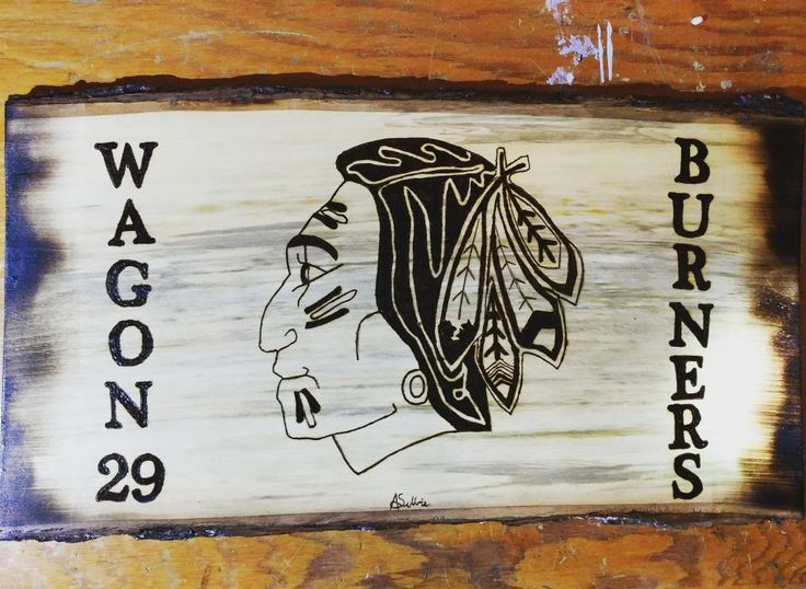 Another hockey logo down #woodburning #woodwork #pyrography #NHL #blackhawks #wagonburners