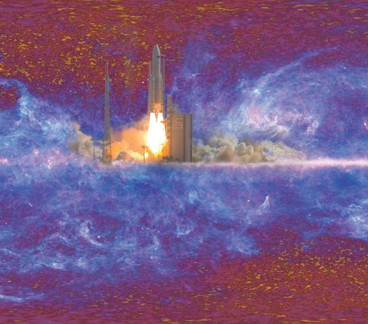 Une fusée Ariane 5 emporte le satellite Planck dans l'espace le 14 mai 2009. L'image de fond est la synthèse d'environ une année d'observation par les deux instruments de Planck et montre à la fois le rayonnement fossile et l'émission de notre Galaxie.    #UPMC #IAP #HFIPlanck