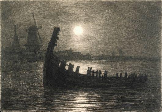 """Carel Nicolaas Storm van s""""Bravesande, Moonlight on the Biesboch"""