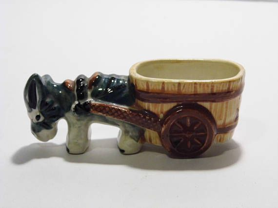 Donkey  Mule  Burro pulling Wagon Ceramic Figure from 1950s