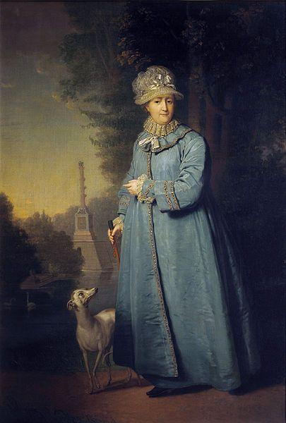 'Catharina de Grote in Tsarskoje Selo (Tsarendorp)', 1794 /  Vladimir Borovikovski (1757-1825) / Tretjakovgalerij, Moskou, Rusland.