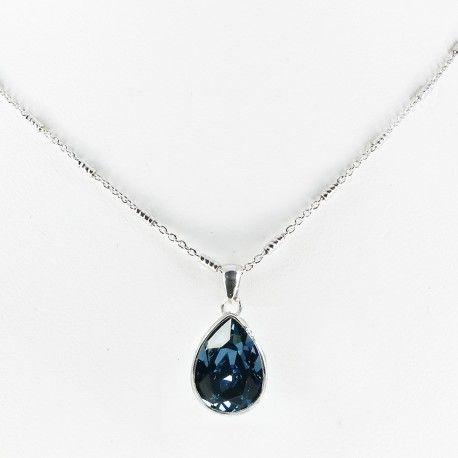 Collar plata de ley con piedra SWAROVSKY azul denim #joyas #brugine #collares