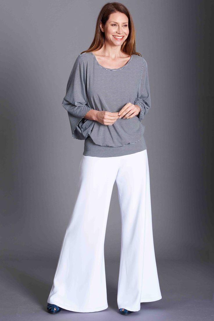 Hepburn Pant,  Baz T nautical stripe blue and white Effortless Elegance
