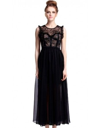 Black Sleeveless Lace Chiffon Full-Length Dress