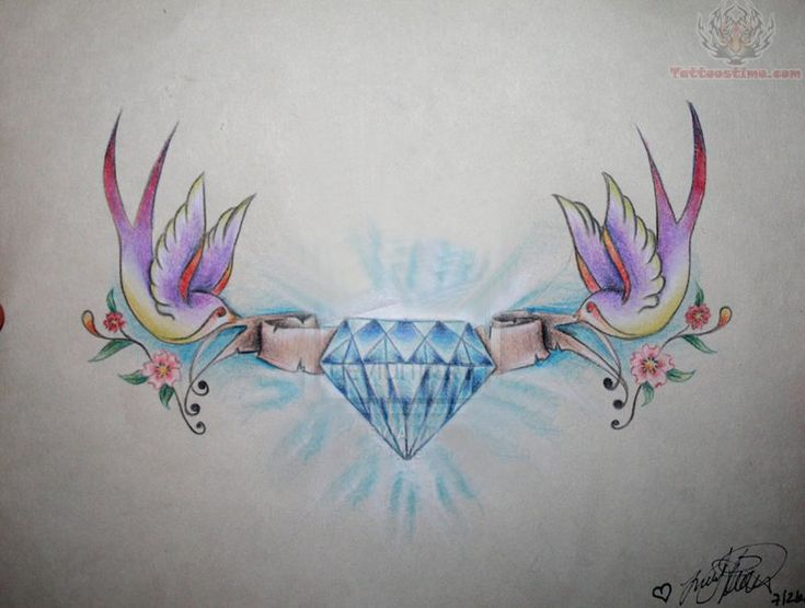 pair of birds tattoo | images of swallow birds and diamond tattoo design wallpaper