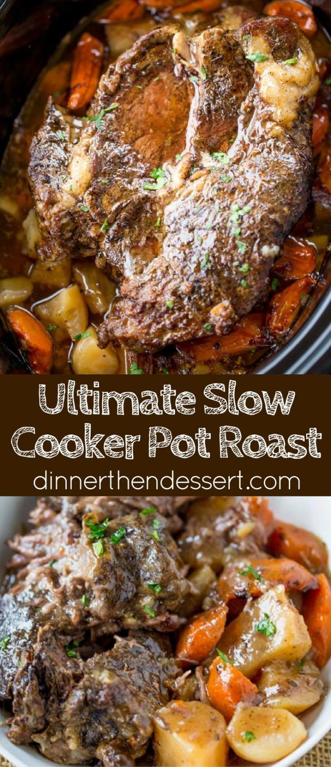 Ultimate Slow Cooker Pot Roast that leaves you with tender meat, vegetables and a built in gravy to enjoy them all with in just 15 minutes of prep! Perfect weeknight dinner!