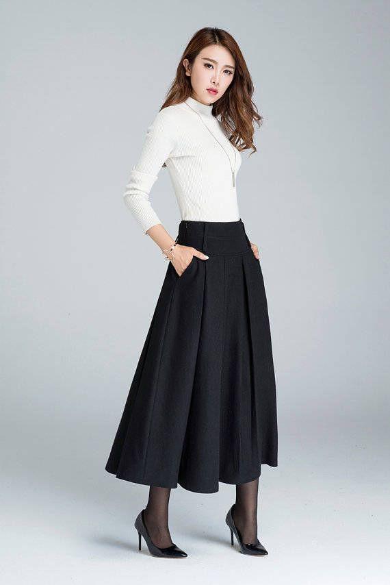 1950s skirt, wool skirt, winter skirt, vintage skirt, warm skirt, winter skirt, maxi skirt, skirt with pockets, custom skirt for women 1857#