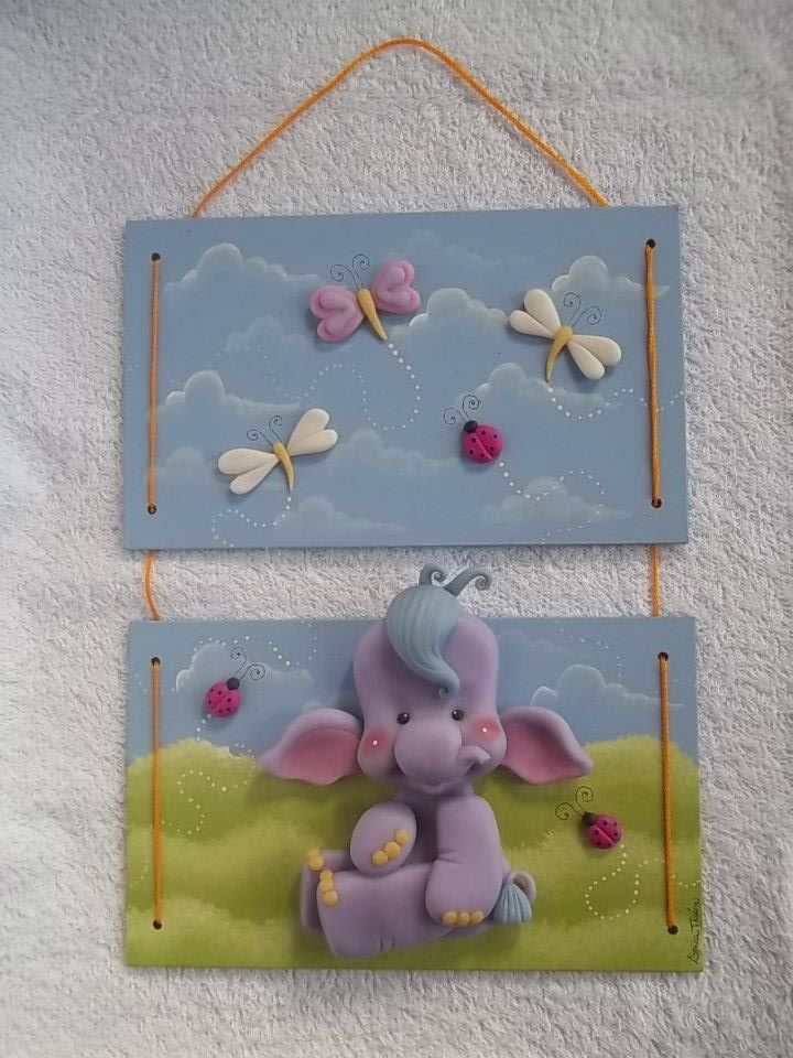 Adorable purple elephant #polymer #clay plaque.