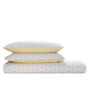 Grey Double Duvet Cover in Cotton 200x200cm, Trio | MADE.com
