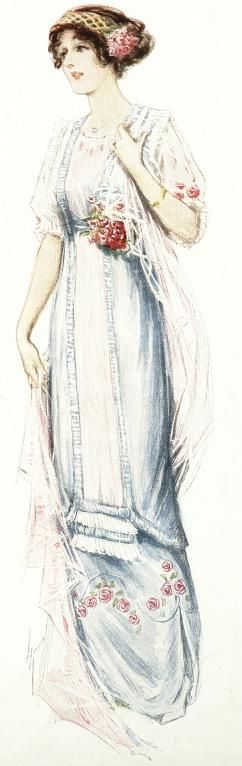 The illustrations show the evolution of styles throughout the decade. from 1912 to 1919.