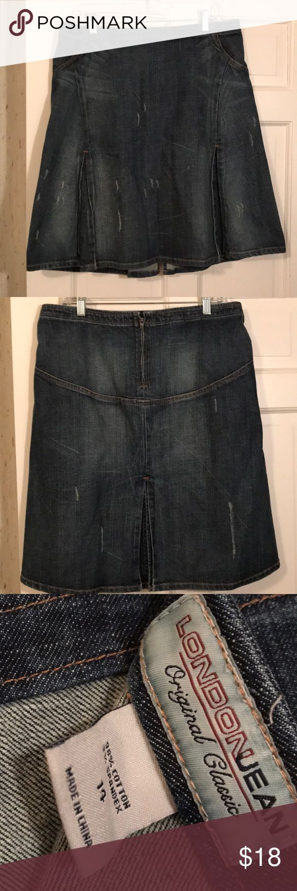 London Jeans A-line distressed Jean skirt London Jeans A-line distressed Jean skirt with kick pleats. Super cute. EUC. No damages excellent condition. Size 14. Color dark denim blue. No low offers. Price firm.   DISCLAIMER: You buy it, you keep it! If you are a habitual returner, do not buy from my closet. I am not responsible for you changing your mind about your purchase if you don't like what you received, or the size or color isn't right. Don't open a case. London Jean Jeans