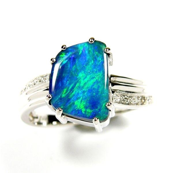 """Australian """"Sky & Ocean Blue Color"""" ... Solid Australian Black Opal Ring in K18 WG & Diamonds ... www.gemstory.com.au"""