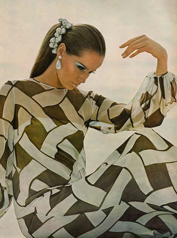 Veruschka in a brown and white chiffon over a slip of silk crepe by Chuck Howard of Townley, photo by Bert Stern, Vogue US 1966