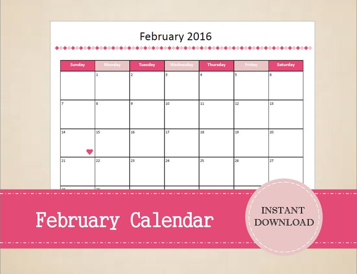 Printable February 2016 Calendar - Seasonal montly calendar - February Calendar - Valentines Printables - INSTANT PDF DOWNLOAD by MBucherConsulting on Etsy