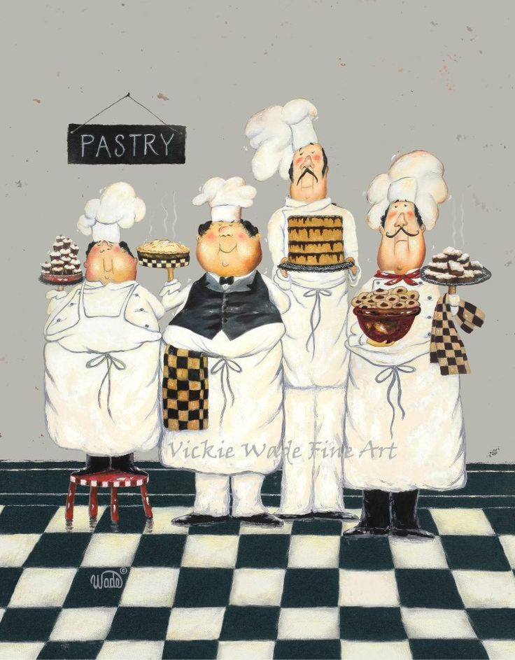Four TALL Pastry Chefs Art Print fat chef paintings art kitchen art wall decor fun bakers four men gray desserts Vickie Wade art (26.00 USD) by VickieWadeFineArt