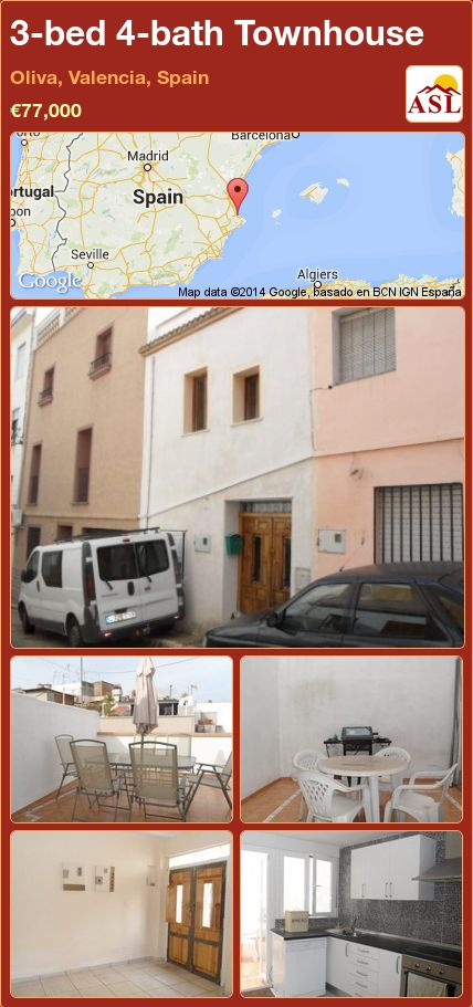 3-bed 4-bath Townhouse in Oliva, Valencia, Spain ►€77,000 #PropertyForSaleInSpain
