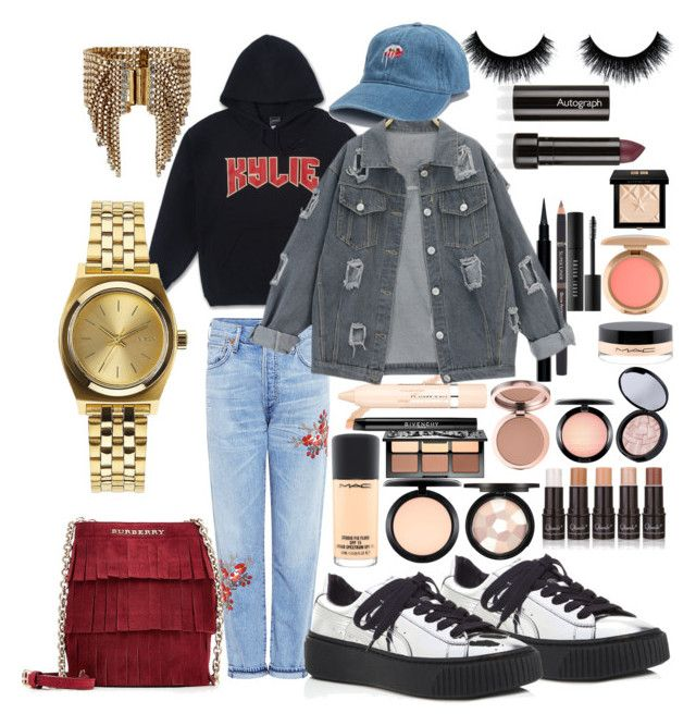 """Kylie J"" by madisonkiss on Polyvore featuring L'Oréal Paris, Elizabeth Cole, Citizens of Humanity, Puma, Burberry, Nixon, MAC Cosmetics, Sephora Collection, Givenchy and Bobbi Brown Cosmetics"