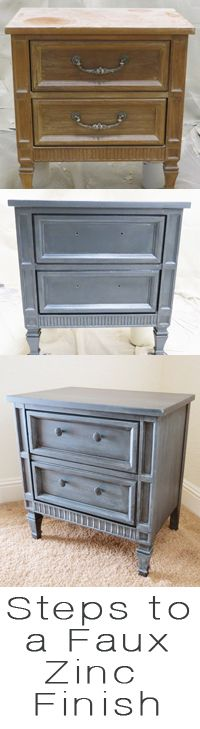 Exceptional Faux Zinc Finish   Nightstand Makeover