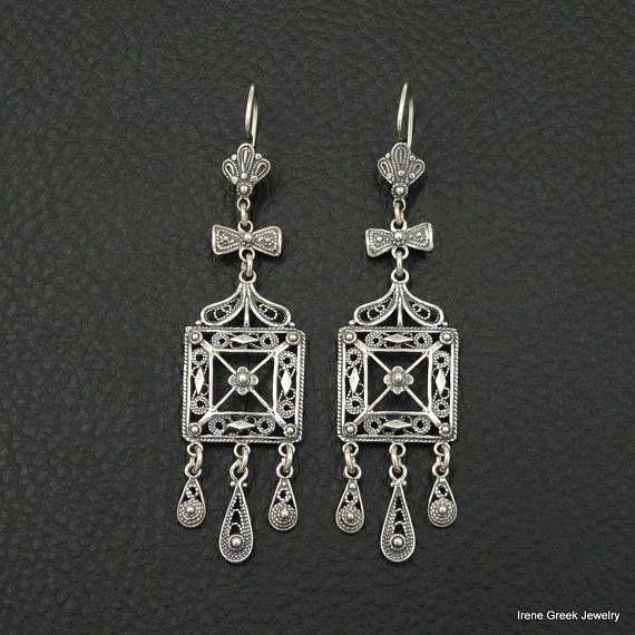 Filigree Earrings 925 Sterling Silver Greek Handmade Art