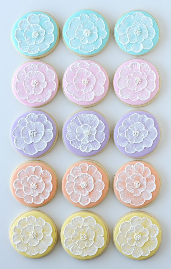 Spring Brush Embroidery Cookies - Glorious Treats