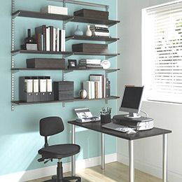 The Container Store U003e Driftwood U0026 Platinum Elfa Office Shelving U0026 Desk    Very Nice Home Office With Elfa