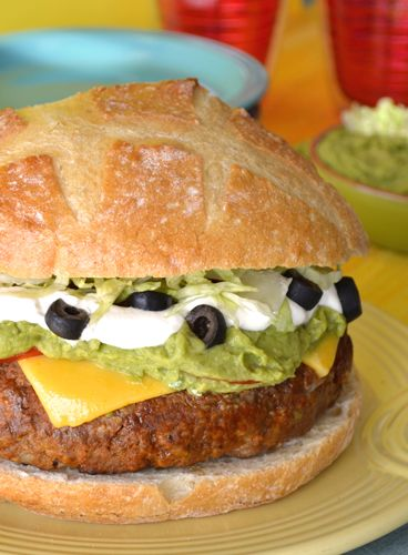 jumbo burger spiked with spicy taco seasoning. Top with sour cream ...