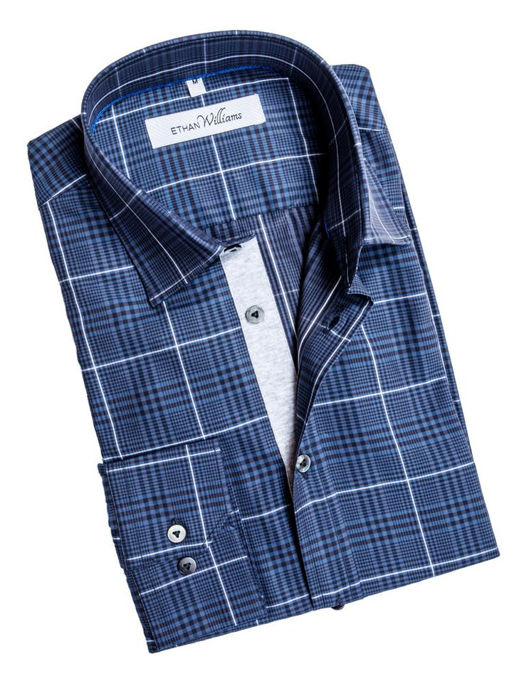 Ethan Williams Navy gingham shirt with white contrasting grid - Natalie