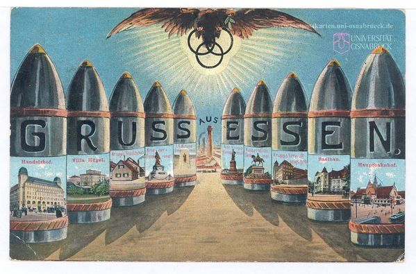 """"""" Greetings from Essen"""", German WW1 postcard showing the Krupp works, a steel & ammunition factory."""