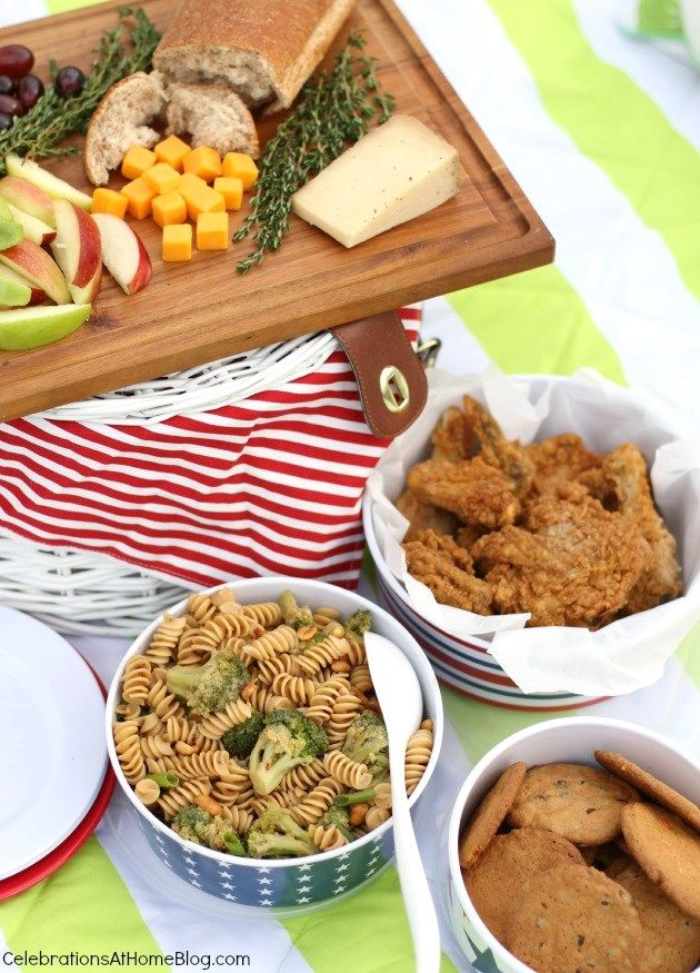 Picnic   Pasta-Broccoli salad, peanut sauce   add chicken?   lemonade   cookies   fruit & cheese tray/board (14Jl)