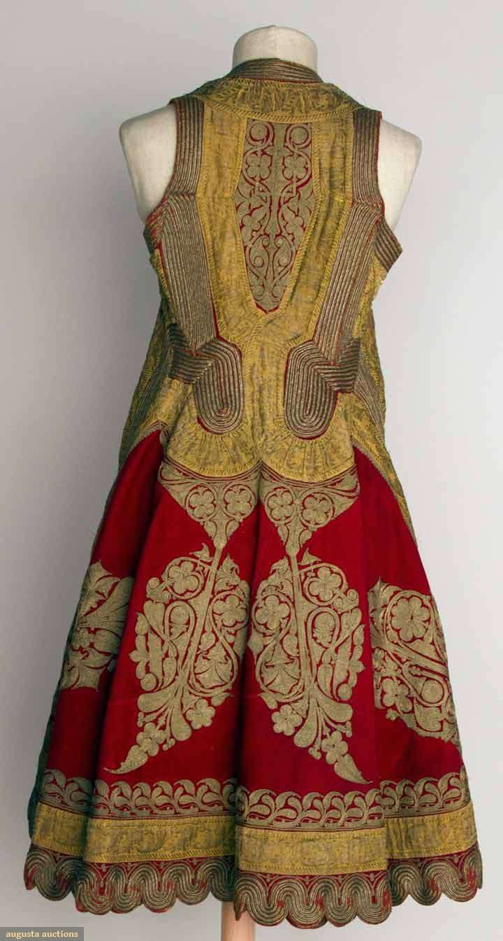 Albania, woman's sleeveless coat, red wool w/ elaborate gold metallic embroidery & gilt trim, printed cotton lining, 19th c