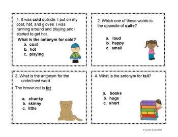 Free! 20 Antonym Task Cards for work stations/small group