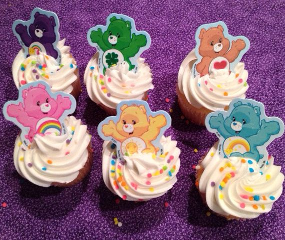 Care bear cupcake rings by Pintrestmademedoit on Etsy, $3.95