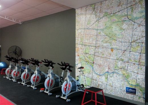 Prosport Health and Fitness recently installed this wall mural of a map of the local streets. They use it to map out runs for their clients - the perfect value add for a gym!