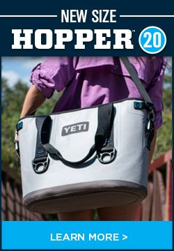 The YETI Hopper™ 20 is a personal, portable, anything but soft-sided cooler. Easily transport at least 12 icy cans to the links, the lake or your next tailgate using the sturdy handles or carrying strap. Unlike other soft-sided coolers, it's puncture-resistant, leakproof and sports an anti-microbial liner that resists mildew. Available March 1st.