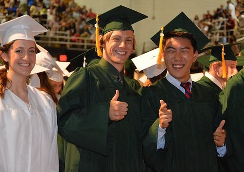 Allyson Megan Long, left, David Pearson Zurmuhl and You Joon Shin show their excitement during Pennridge High School's graduation ceremony in Stabler Arena on the campus of Lehigh University Tuesday, June 18. News-Herald photo — DEBBY HIGH