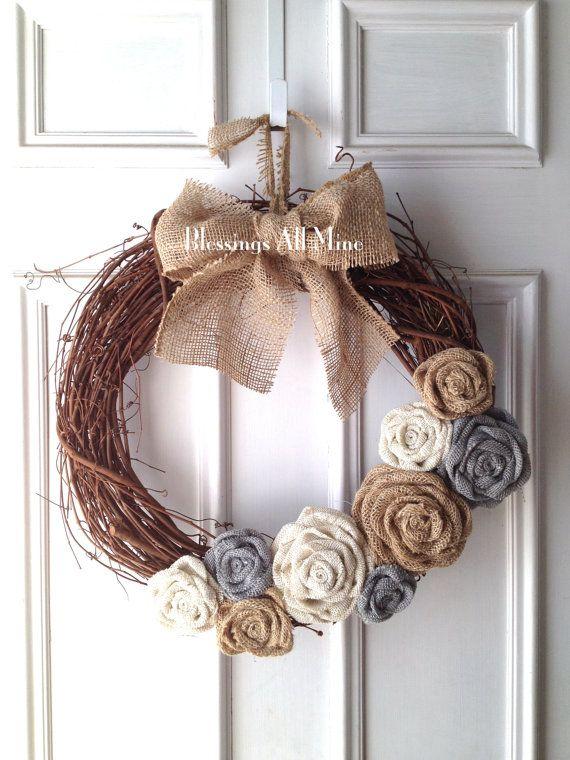 18 inch Grapevine Wreath White Gray & Neutral by BlessingsAllMine, $43.00