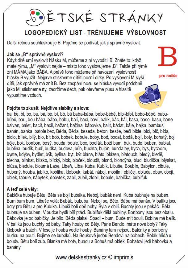 logopedický list B