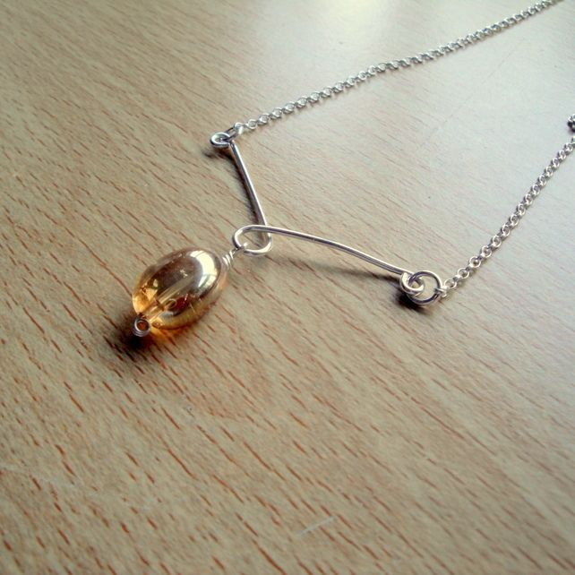 Sterling Silver and Rock Crystal Pendant Necklace