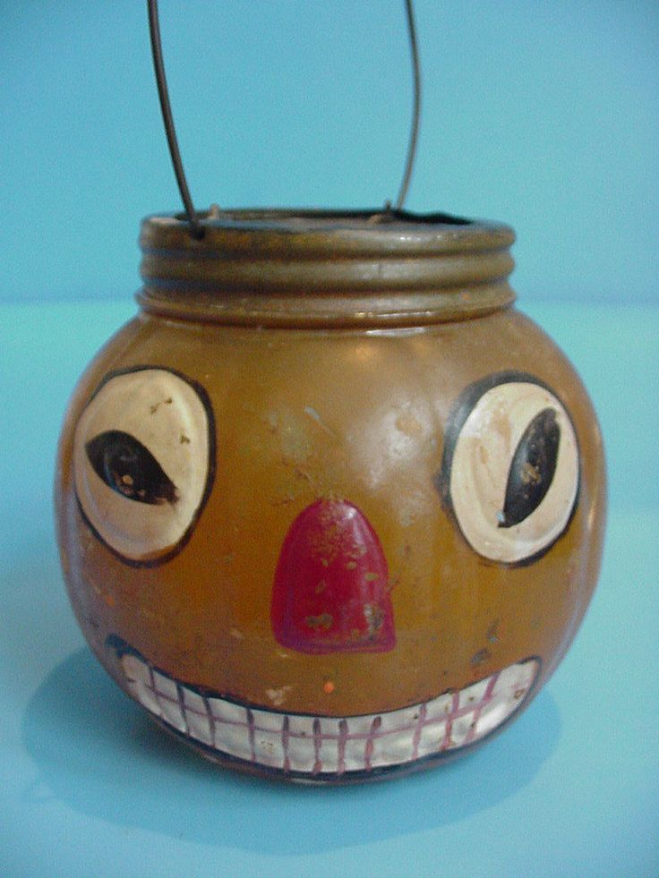 rare early antique halloween jack o lantern glass candy container original paint ebay - Vintage Halloween Decorations Ebay
