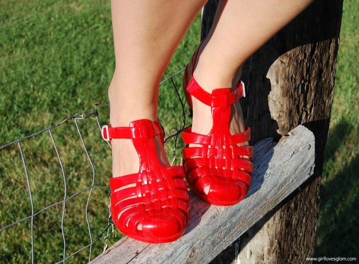 Red dress 90s jelly shoes