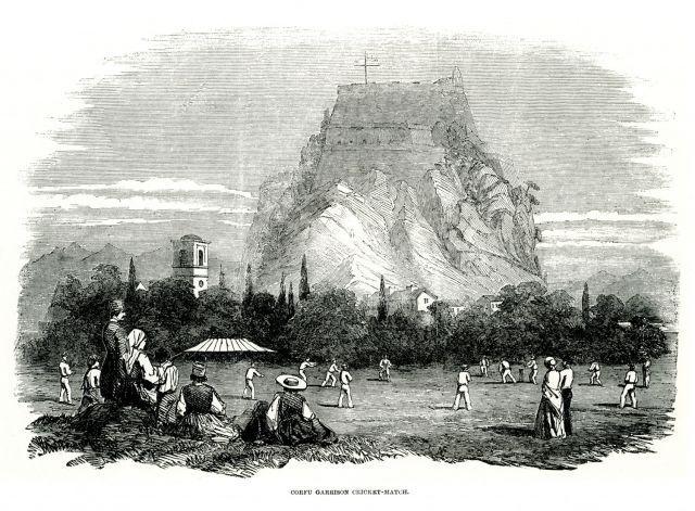 Αγώνας κρίκετ στη Σπινάδα, στην πόλη της Κέρκυρας, τον Ιούλιο του 1853. Στο βάθος το Παλαιό Φρούριο. - Λεύκωμα 1842 – 1885 - ME TO BΛΕΜΜΑ ΤΩΝ ΠΕΡΙΗΓΗΤΩΝ - Τόποι - Μνημεία - Άνθρωποι - Νοτιοανατολική Ευρώπη - Ανατολική Μεσόγειος - Ελλάδα - Μικρά Ασία - Νότιος Ιταλία, 15ος - 20ός αιώνας