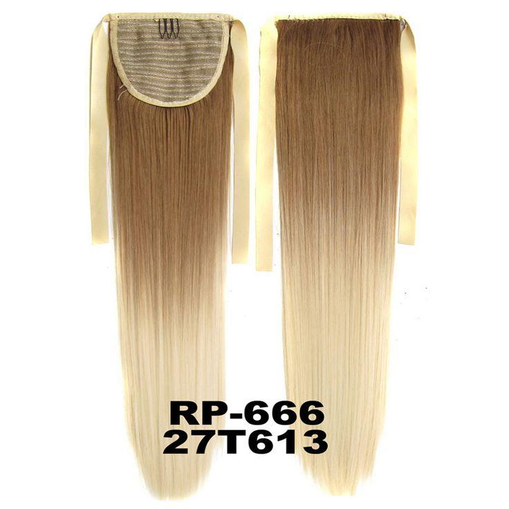 Nieuwe Stijl Omber Paardenstaart Lange Rechte Haarstuk Paardenstaart Haarstukje Synthetisch Haar paardenstaart, 12 kleuren beschikbaar, 55 cm, 1 st
