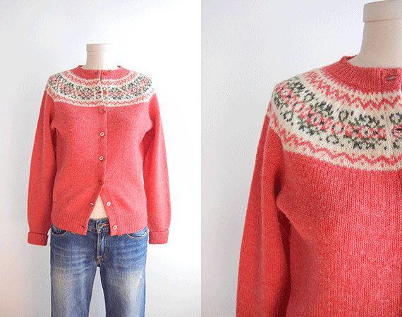 Vintage Shetland Fair Isle Cardigan / 1960s Wool by zestvintage