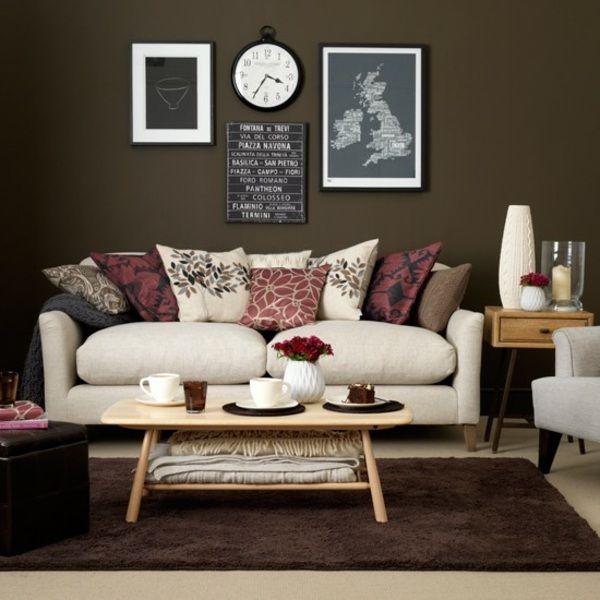Taupe Farbe Dekorative Ideen Für Ihr Zuhause: Wohnzimmer Braun Weiß Sofa Deko Kissen Rosa Rot Farbe