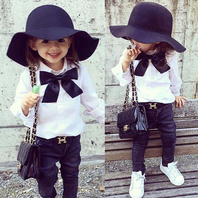 Spring Autumn Baby Girls Long Sleeve T Shirts Fashion Solid Bow Turn- Down Collar Kids T Shirt 1pcs
