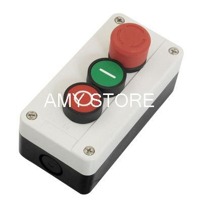 600V 10A Momentary 1NO Green 1NC Red Sign Flat PushButton 1NC Maintain Latching Red Emergency Stop PushButton Switch Station Box