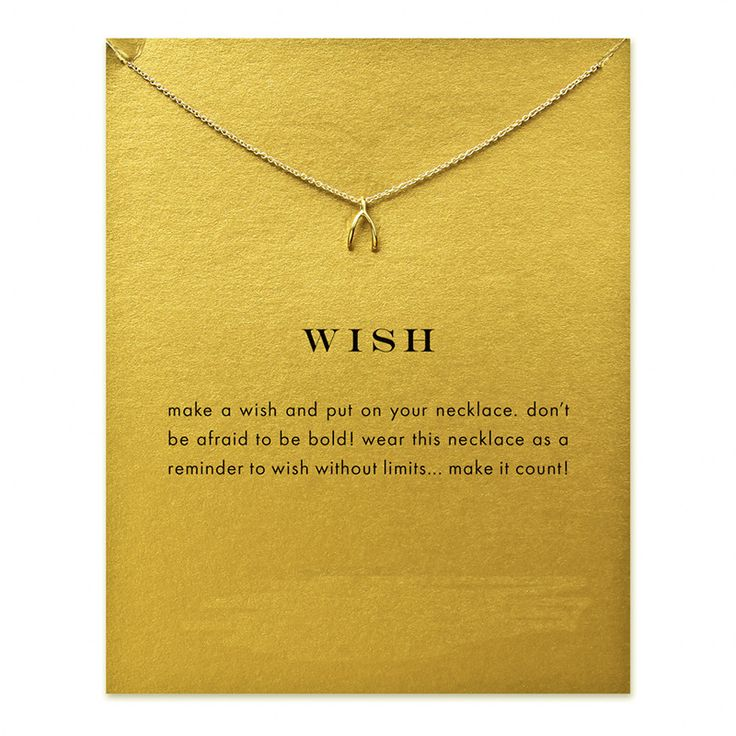 Wish Wishbone Necklace Gold Dipped or Silver Necklace