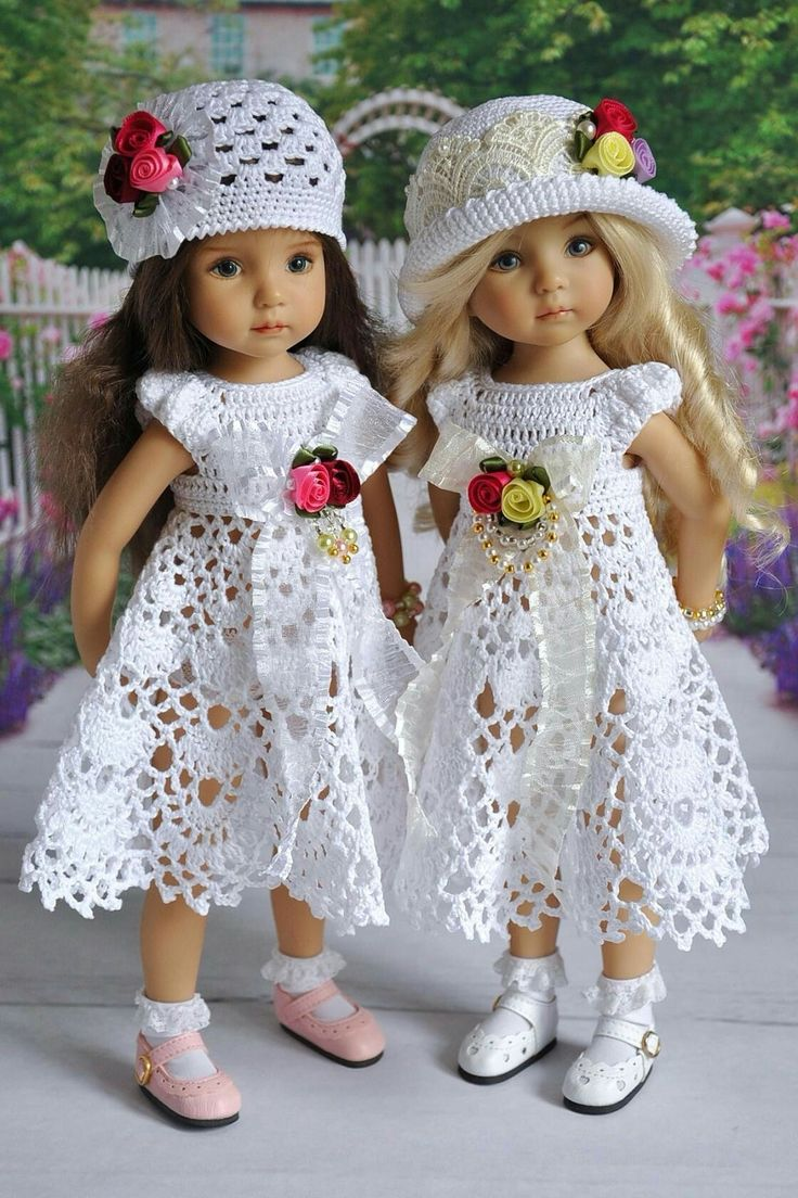 "Pattern is for 13"" doll, but so perffect for Easter I couldn't pass it up. ""Les Cheries in white crochet dresses"""