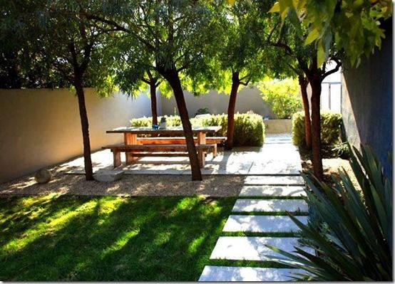Again separate garden rooms for a narrow garden. Seating in the shade.