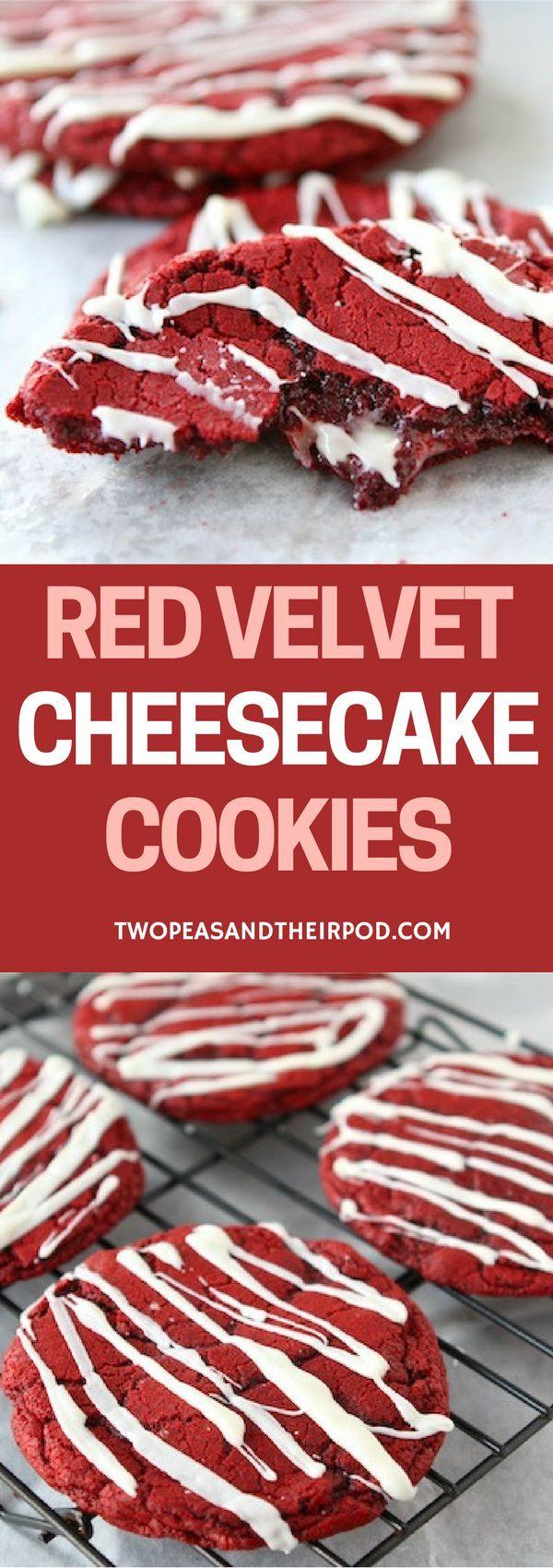 Red Velvet Cheesecake Cookies - Red velvet cookies with a cream cheese center and a cream cheese glaze!